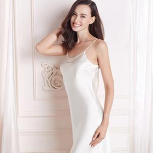 Pure silk gecelik nuisette women nightwear sexy sleepwear slip night dress pijamas nightgown night gown nighty petticoat woman