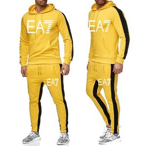 New Brand Tracksuit Men Moda uomo Felpe con cappuccio Tute Tracksuit Uomo Felpe + Pantaloni Autunno Autunno Inverno Fleece Pullover con cappuccio