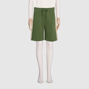 20SS Side Brown Short rayé vert vacances d'été Short taille élastique Outdoor High Street Sport Pantalons courts Pantalons HFHLKZ061 Cordon de réglage