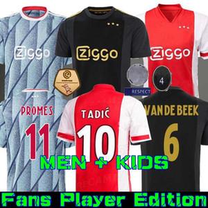 20 21 Ajax lejos camiseta de fútbol Simapro 2020 2021 Camiseta de futbo van de Beek TADIC ZIYECH FÚTBOL hombres de la camisa de los cabritos sets uniforme 50º Neres