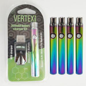 Arcobaleno VERTICE preriscaldamento Vape Battery Cartridge 350mAh VV 510 Discussione Vape Penne batteria di tensione regolabili 3.4-4.0v Carts olio Battries