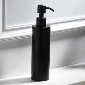 200Ml Stainless Steel Soap Dispenser Black Coated Round Countertop Hand Pump Lotion Bottle Kitchen Bathroom Supplies