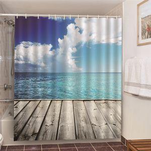 2020 Waterproof Conch Starfish Blue Ocean Beach Printed Bathroom Shower Curtain Prevents Peeping Bathtub Power Outage Screen Door Curtain He