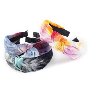 Twist клипы Повязка для женщин Девушки Tie Dye плиссе Wide-Band оголовье моды узел Bow Аксессуары для волос Хаара волос Diademas