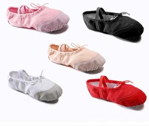 EU16-EU41 Ballet toile Pantoufles Enfants Filles Femmes Classique Split-Sole Danse Gymnastique Chaussures Flats Rouge Rose Noir Livraison gratuite