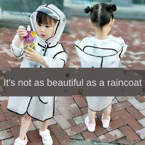 impermeable de los niños chicos y alumnos de 12 años de edad, engrosamiento del borde grande transparente ropa protectora antideslizante ropa protectora delgada r