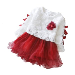 Girls Party Lace Clothes Outfits Flower O-neck Dress Kids Dresses for Girl Princess Autumn Winter Party Children Clothing 1n5