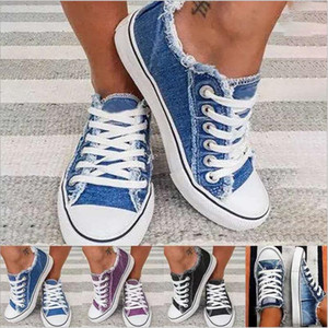 Denim singoli appartamenti casuali fannulloni Low-Top Lace-up Versatile pattini pigri Sneakers Chaussures all'aria aperta giardino della casa DHE119