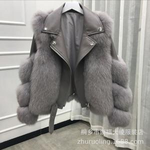 Mujeres Faux piel motocicleta chaqueta empalmada cuello de solapa manga larga cremallera abrigos damas ropa de invierno