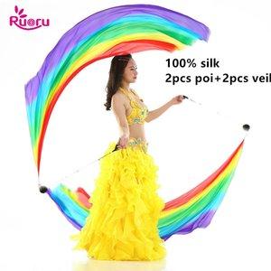 100% Seide 2ST Silk Schleier + 2Pcs Poi Kette Ball-Frauen Bauchtanz-Silk Voi Streamer Stage Props Rainbow Color Gradient