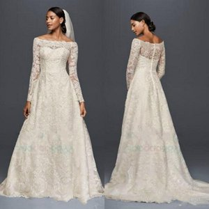 Oleg Cassini Modest Wedding Dresses with Long Sleeves Lace Applique Off The Shoulder Garden Outdoor Wedding Dresses Plus Size Bridal Gowns