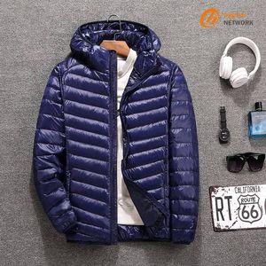 Giacca vendita calda Streetwear Inverno uomo incappucciato leggero piumino con cappuccio cappuccio giacca casual di tendenza piumino cappotto
