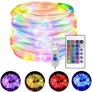 LED 로프는 문자열 조명 원격 방수 크리스마스 파티 장식 4 모드 16 색 USB 강화 된 로프 튜브 조명 교체하기 16 색상을 점등