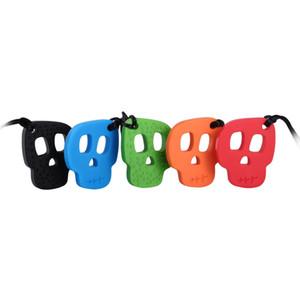 Chew Sensorial Colar Caveira Rodada Food Grade do bebê Silicone Teethers mastigável Pendant para Mastigar Chupetas criança Kid autismo Toy