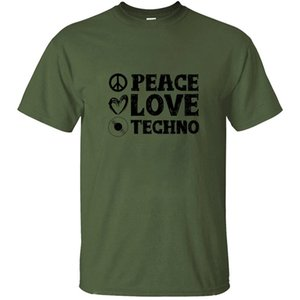 Personalizar informal Peace Love Techno | Techno Dj Ideas del regalo de la camiseta para los hombres varón unisex de los hombres camisetas más el tamaño S-5XL
