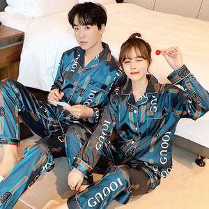 tT7M7 22FgA couple Ice Silk 2020 Home clothes Trousers pajamas women's home pajamas men's silk spring and autumn thin long sleeve trousers su