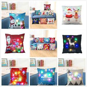 LED Luminous Christmas Cushion Cover Red Home Decor Sofa Pillow Case Cover Seat Car Throw Pillowcase Christmas Decoration For Home