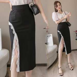 3QyBS t3CUE 2020 Summer new lace for slimming One-Step bodycon Tight one-step mid-length sheath split skirt socialite tight skirt stitching w