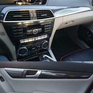 Per Benz Classe C W204 2011-2014 pannello interno della porta di controllo centrale Maniglia 3D 5D in fibra di carbonio decalcomanie degli autoadesivi Car Styling Accessorie