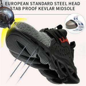 Bota quente para homens anti-esmagando construção de aço toe tampa de trabalho sapatos de segurança indestrutível sneakers Y200915