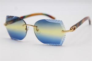 2020 femmes populaires Rimless élégant bois d'or Unisex bois de paon SunGlasses lentilles optiques Sculpté hommes Transparentes Lunettes de femmes d'argent