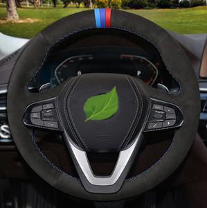 DIY antideslizante Negro de cuero genuino de Dirección de gamuza de coches Cubierta de rueda de BMW G20 G21 G30 G31 G32 G05 X3 X5 X7 G07 G01 G02 Z4 X4 G29