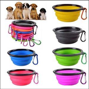 2 Styles Pliable Dog Cat Voyage d'alimentation bol extérieur Pet eau plat Puppy Feeder silicone portable pliable Bowl avec crochet LJJP322