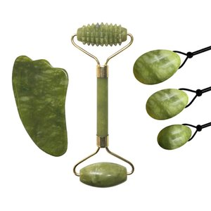 Jade naturel Rouleau Guasha Scraper Yoni Oeufs Crystal Stone Massage du visage Jade Oeufs Kegel exerciseur Massager Gouache Scraper Set