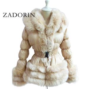 ZADORIN 2020 inverno caldo piumino donne di lusso colletto in pelliccia sintetica bianca dell'anatra giù del rivestimento del cappotto invernale con cappuccio e cintura