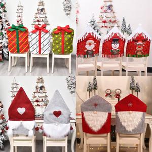 Рождественский Председатель Обложка Санта-Клауса рождественские Red Hat Стулья Назад Охватывает Ужин Председатель Cap Xmas Главная партия Украшение DHD762