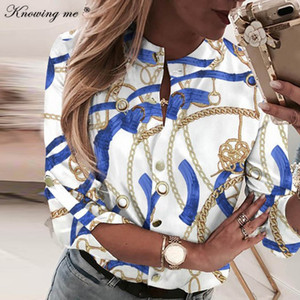 Women Chains Print Leisure Top Elegant Summer Adjustable Sleeve Button blouse shirt Office Lady Basic Blusas dropshipping 200925