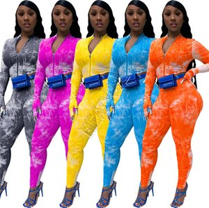 deux pièces Vêtements Set Tie-dye Survêtement Zipper Vestes Coat Crop Top leggings Pantalons Designers Automne Femmes Tenues Mesdames Bodysuit de D9105
