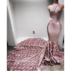 New Dusty Pink 3D Rose Flowers Mermaid Sheath Charming Women Prom Dress Appliques Bust Design Custom Made Maxi Gowns Black Girl Gown