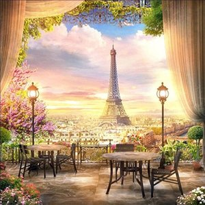 Paris Tower landscape scenery 2019new DIY Crystal full drill square 5D diamond painting cross stitch kit mosaic round rhinestone C0926