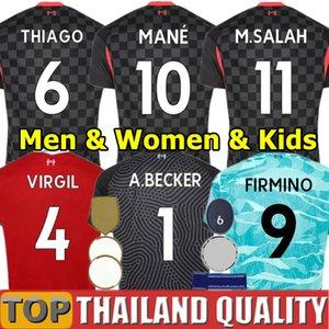 20 21 LIV Salah Maglie da calcio FIRMINO THIAGO 2020 VIRGIL MANE KEITA Liverpool set di magliette da calcio portiere Uomini Kit per bambini uniforme