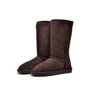Теплый Fluff снег сапоги Женщина Короткие мини шоколадных меха Австралия Bailey Колено Tall Winter Boots Кожа Дизайнер Mid голеностопного Леди обувь