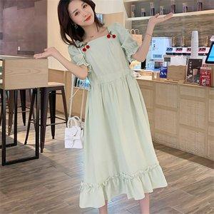 Square Collar Mujer riza el verano vendedor caliente de 2020 vestido de maternidad Casual fresco A-Line, Slender suelta Embarazo