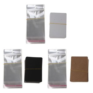 For Packaging with Paper Cards Bags Jewelry Tags Used Blank Necklace Earring Display Kraft Card 100Pcs Self-Seal 100Pcs Aniod