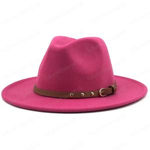NOVO Preto / branco Menina Ampla simples Brim Igreja Derby Top Hat Panamá Sólidos Felt Fedoras Hat para lã Homens Mulheres Jazz Cap