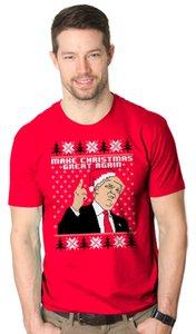 Mens Hacer Navidad Gran Una vez más el sombrero de Santa Trump Camisa divertida de Navidad T feo
