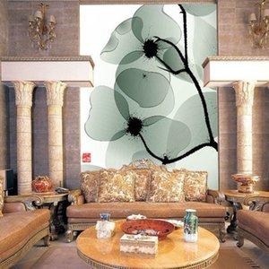 TV background wall non-woven wallpaper Living room sofa porch wallpaper Decor1.5m Width Green leaf art large mural