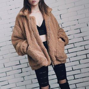 Autumn Winter Faux Fur Coat Women 2019 Casual Warm Soft Zipper Fur Jacket Plush Overcoat Pocket Plus Size Teddy Coat Female