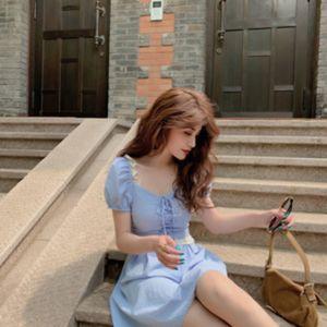 Z9cdL Cordón francés de niña romántica vestido de verano y la burbuja de cuello cuadrado vestido de la manga de empalme de encaje estilo de la corte corto