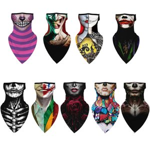 Halloween clown face shields sunscreen face shield printed mountaineering skiing dust-proof ear silk scarves ZY1159
