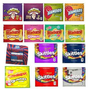 Боеголовки сумка Airheads Xtremes Starburst Gummies Skittles Cannaburst ERRLLI Радуга Пустой Майларовые Сумки Упаковка 400мг Zipper Пакет