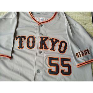 Пользовательские Hideki Matsui Yomiuri Giants Sadaharu Oh Япония Бейсбол Джерси Шищика сшитая Новый серый индивидуальный номер