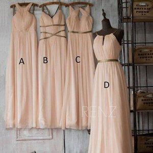 Blush Pink Bridesmaids Dresses 2019 Mixed Style lungo chiffon di Boho del partito Invitato a un matrimonio Gowns ragazze cameriera d'onore Dress Real Photo