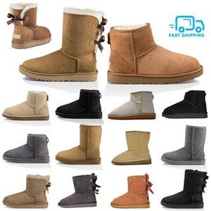 2020 Новой Австралия Boots ботинки женщин для девочек Короткой мини Классического Колена Высокого Зимнего снег Boots Bailey Bow голеностопного Боути Черного Серый каштан
