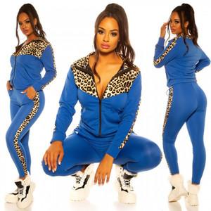 Kadınlar Eşofman Tasarımcılar Leopar Uzun Kollu Triko Fermuarlı Ceket Kaban Pantolon Tayt İki adet Streetwear Patchwork Spor Suit E82604