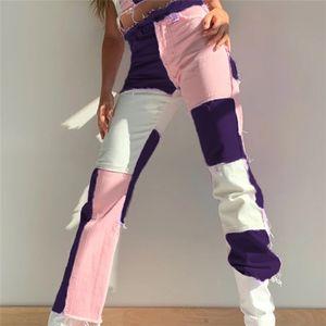 Cintura alta Jeans Womens Designer Multicolor Retalhos retros Denim Calças Skate Moda Mulheres Calças